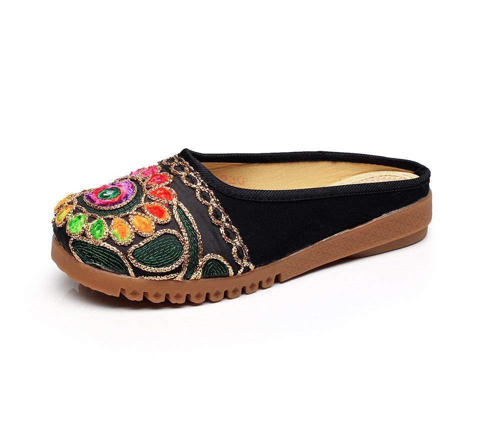 Eeayyygch Bestickte Schuhe Sehnensohle ethnischer Stil Stil Stil weiblicher Flip Flop Mode bequem Sandalen Schwarz 40 (Farbe   - Größe   -) be1398