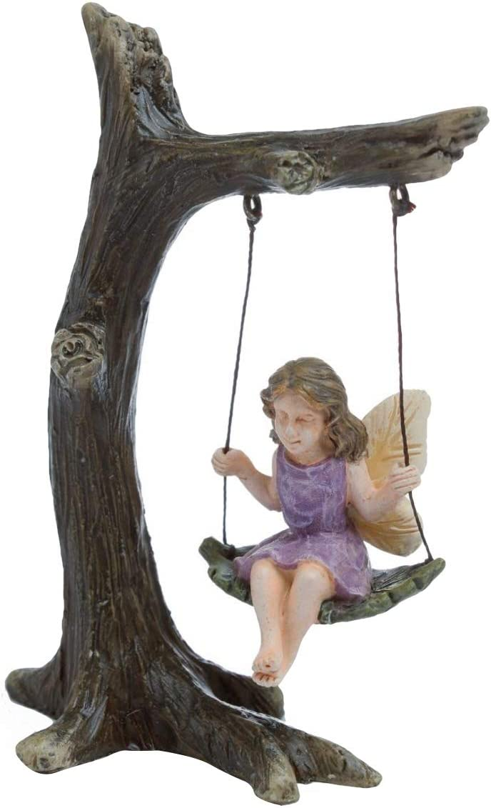 TG,LLC Treasure Gurus Fairy Girl On Tree Swing Miniature Figurine Garden Accessory Dollhouse Decor Ornament