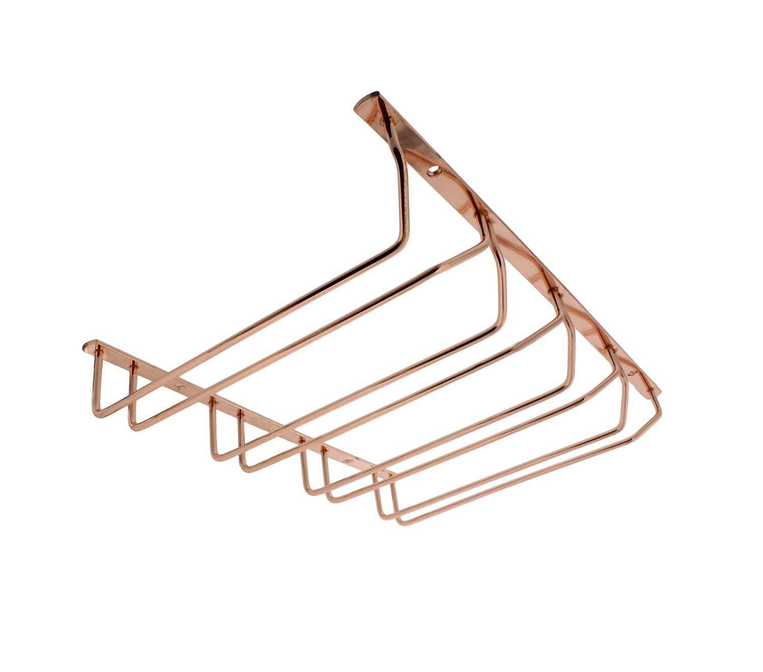 G. Francis | Under Cabinet Wine Glass Rack 4-Row in Rose Gold with Mount Hardware - Stemware Hanging Rack