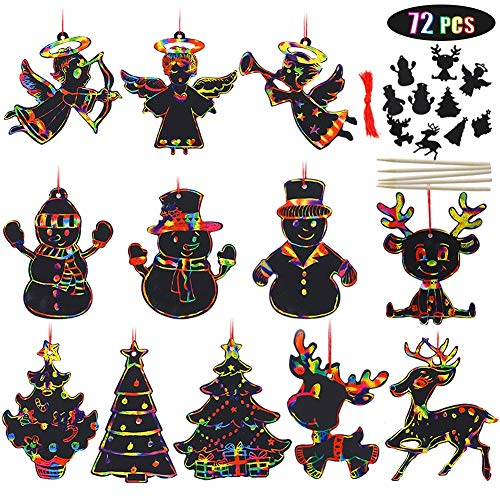 Blissun 72 Pcs Rainbow Color Scratch Christmas Ornaments, Magic Color Christmas Ornaments Craft Kit Toys Include Snowman, Christmas Tree, Reindeer and Angel, 24 Drawing Sticks (Christmas Decorations Fun Homemade)