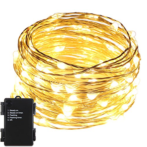 ErChen Battery Operated 33 FT 100 Led Fairy Lights, Waterproof Silver Copper Wire Decorative LED String Lights with Timer for Indoor Outdoor Garden Patio Christmas Wedding (Warm White)