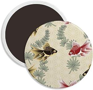 Goldfish Water weeds Japan Round Ceramics Fridge Magnet Keepsake Decoration