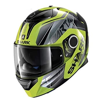 GHQZ Motocross Casco Racing Tiburón Locomotor Doble Lente Esparta Reducción De Ruido (Verde),