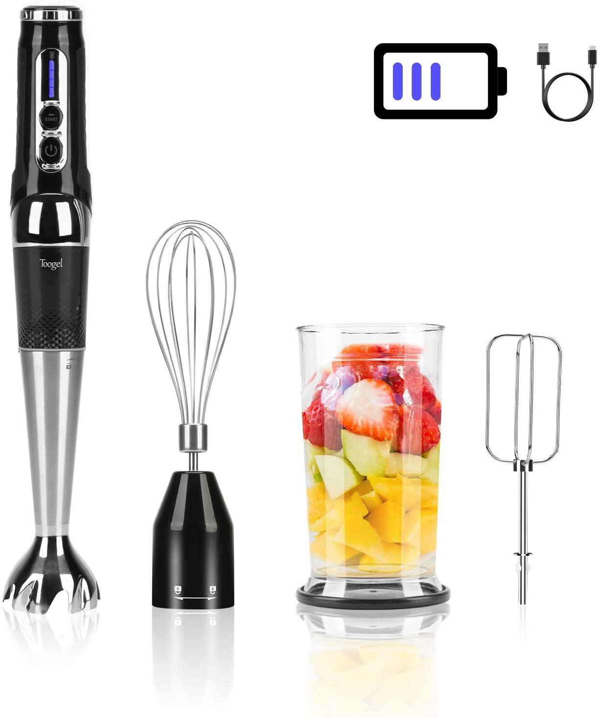 Cordless Hand Blender Rechargeable, Powerful Immersion Stick Blender , Portable Electric Hand Mixer Variable Speed Control with 21-Speed