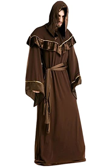88d9d50318 Amazon.com  Men Halloween Cloak Hooded Cape Costume Medieval Monk Cosplay  Robe  Clothing