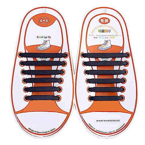 Talent Fashion Kids/Adults Multicolor Tieless Elastic Silicone No Tie Shoelaces Waterproof Rubber Flat Running Shoe Laces for Sneakers Board Shoes Casual Shoes and Boots Kid Black