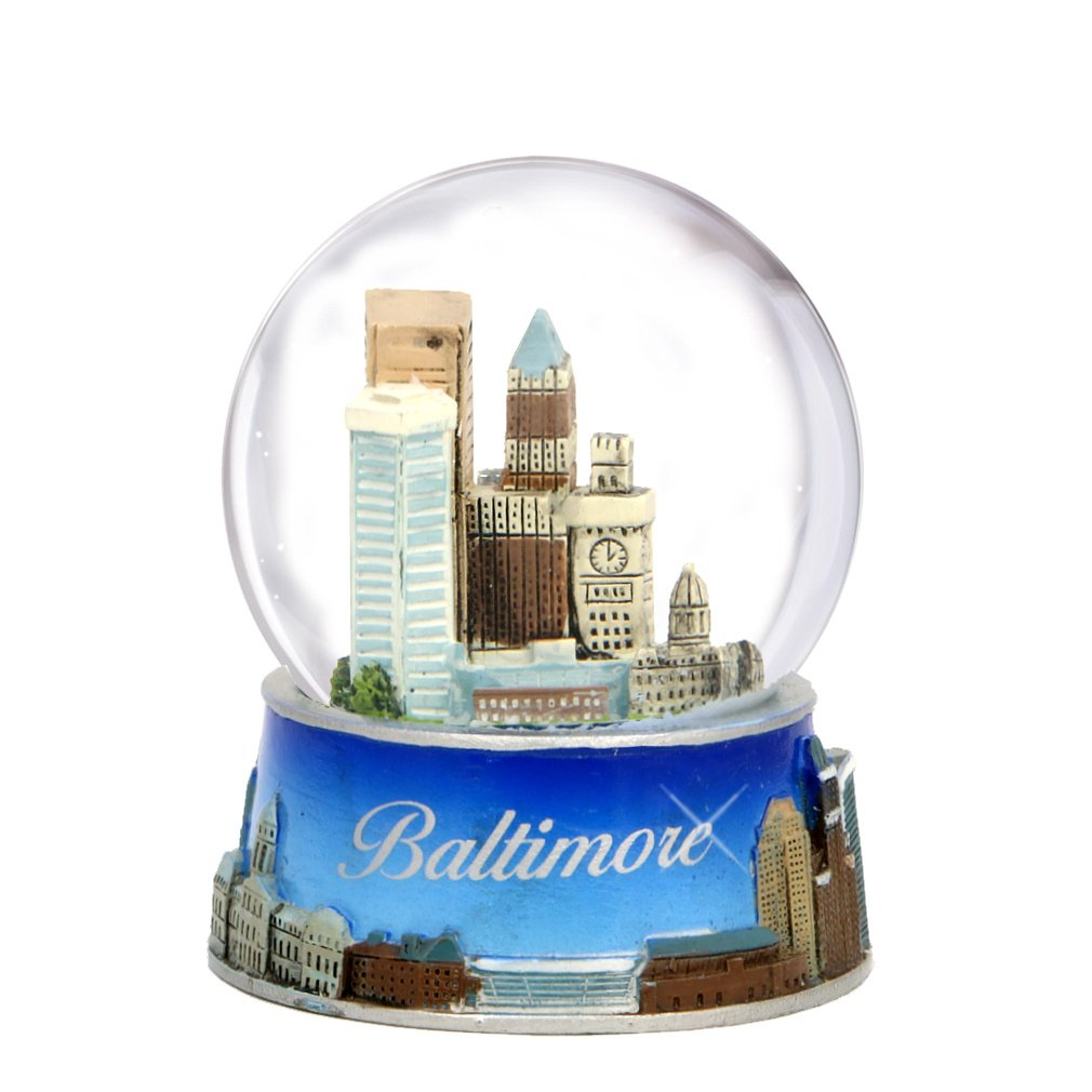 Baltimore Snow Globe from Maryland. Souvenir Snow Globe of Baltimore Skyline. 3.5'' (65mm) snow globes