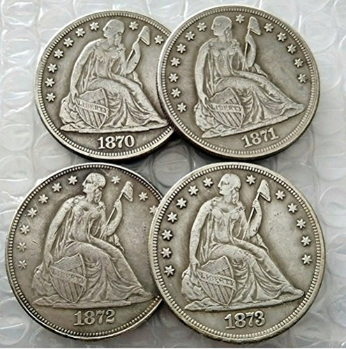 Rare Antique United States Full Set 1870-1873 Year 4Pcs Seated Liberty Liberty Silver Color Dollar Coin