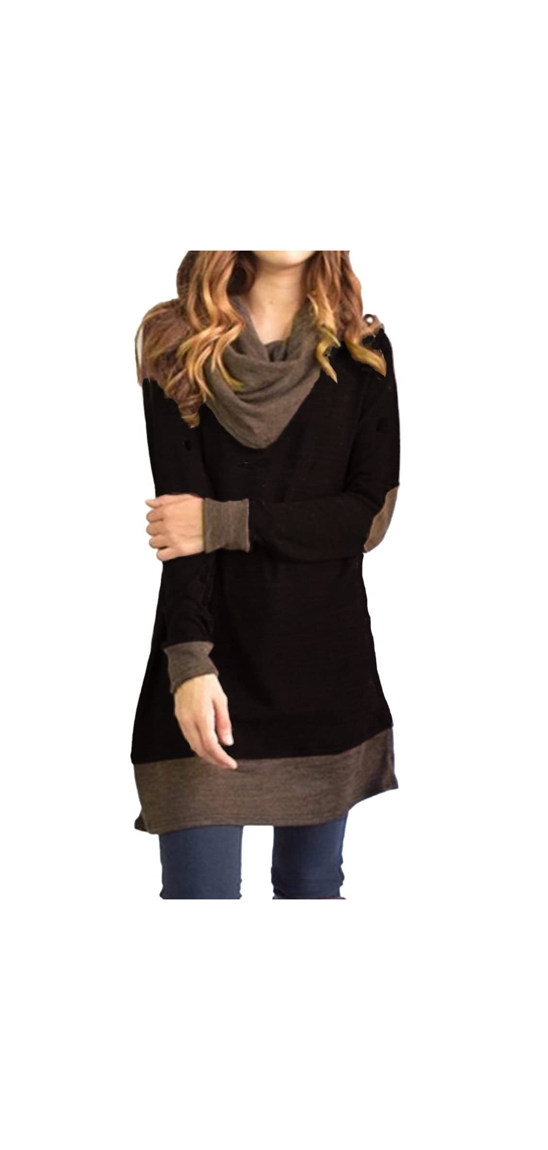 Women's Cowl Neck Tops Two Tone Color Block Pullovers