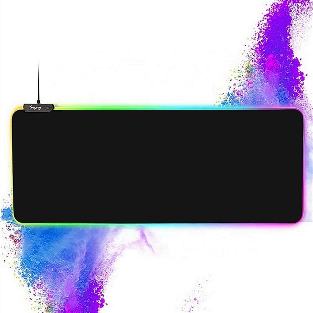 RGB Gaming Large Mouse pad,YCYCSY Professional LED Extended Black Mouse Pad,Extra Long Computer Keyboard Mouse Pads