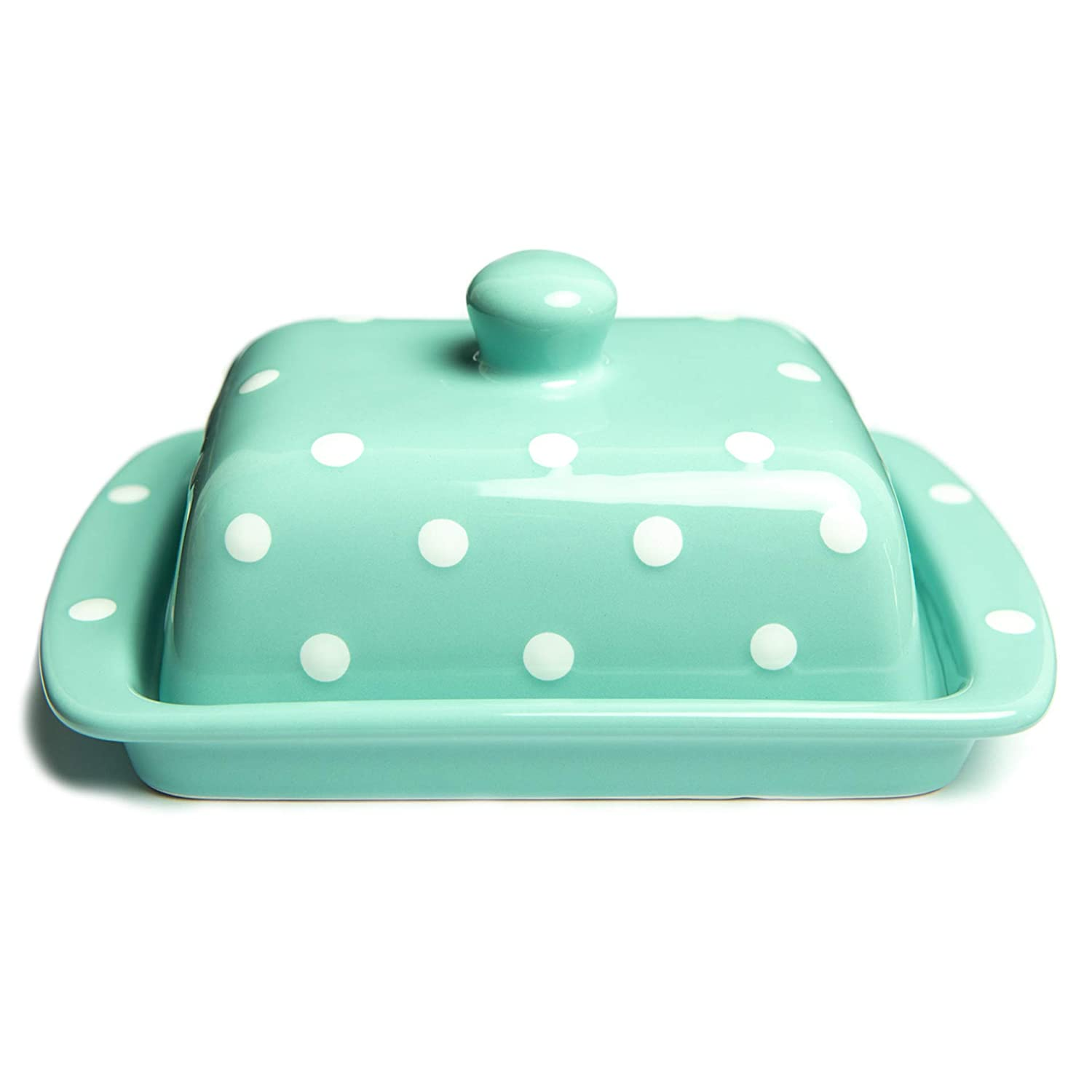 City to Cottage Teal Blue And White Polka Dot Spotty Handmade Hand Painted Ceramic Covered Butter Dish With Lid citytocottage.co.uk