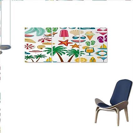 Amazon com: Beach Canvas Print Wall Art Summer Icons Trees