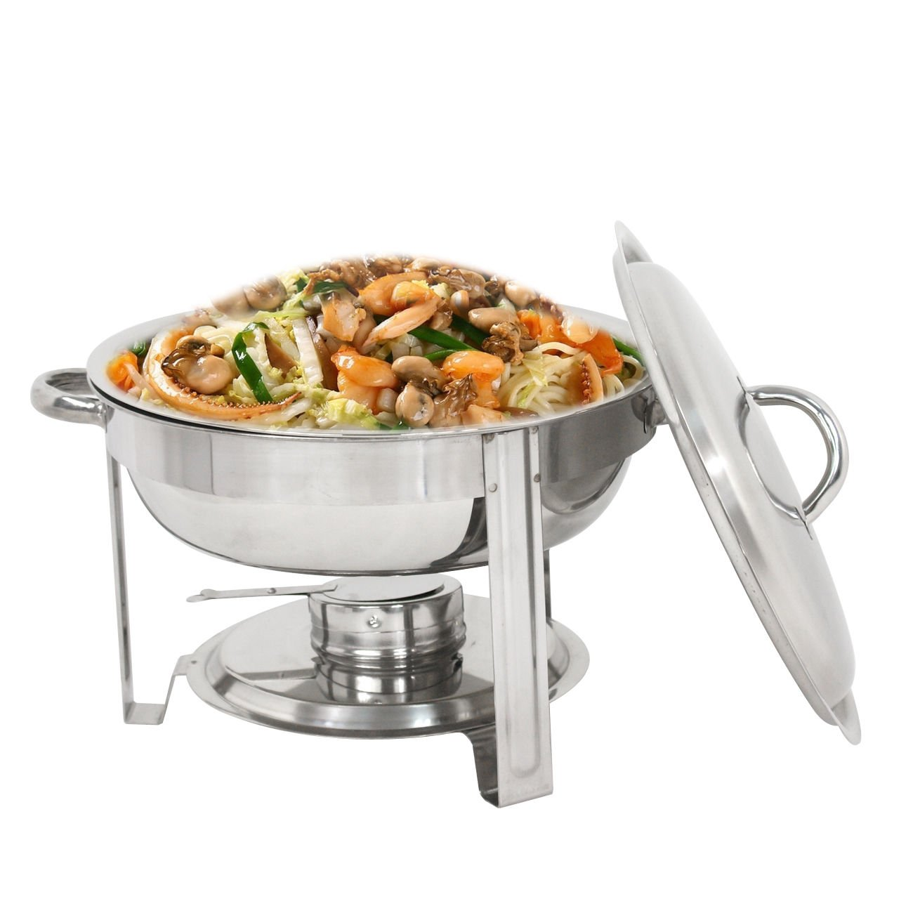 ZENY Round Chafing Dish Full Size 5 Quart Stainless Steel Deep Pans Chafer Dish Set Buffet Catering Party Events Warmer Serving Set Utensils w/Fuel Holder (1)