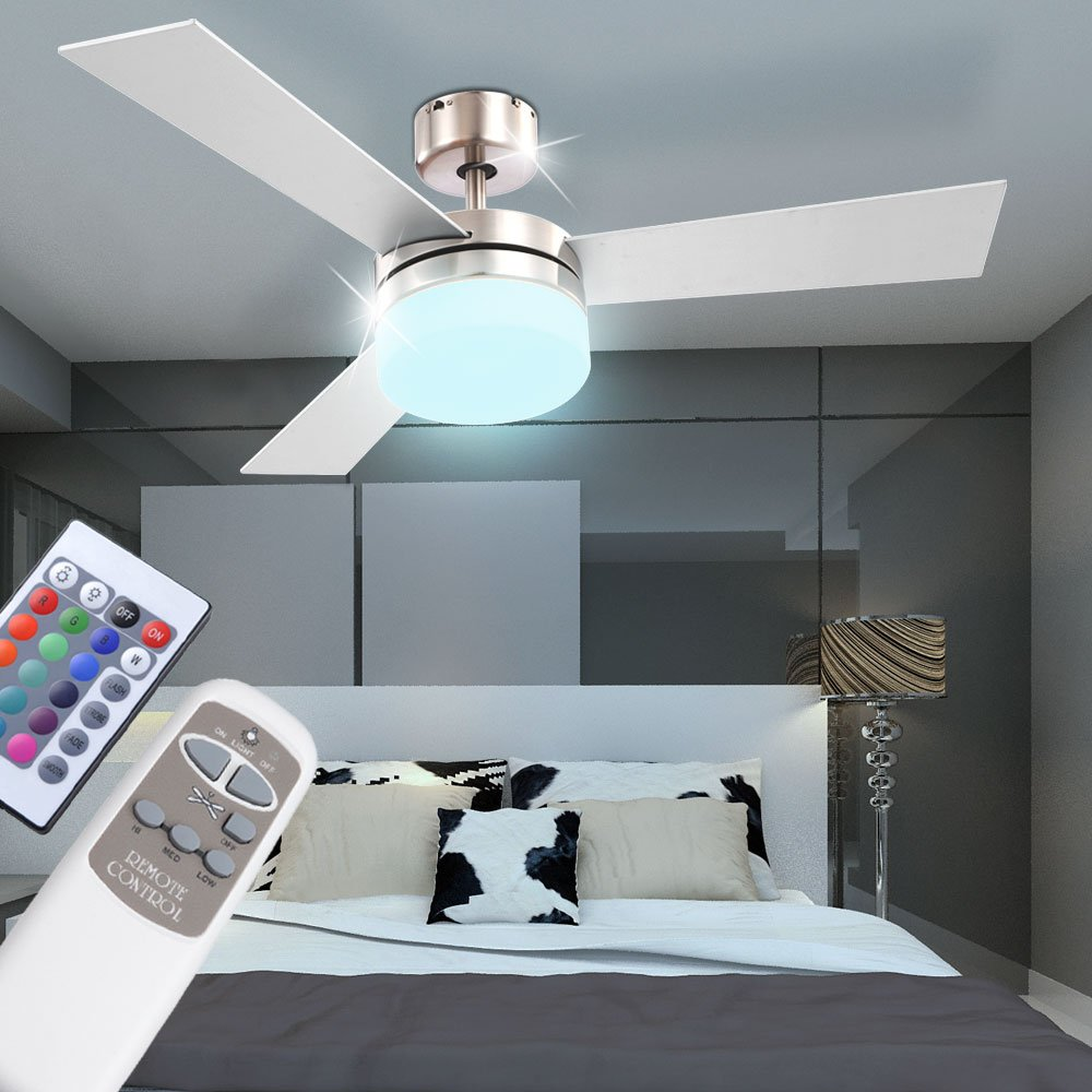 Globo Alana 0333 Deckenventilator mit Licht 105 cm Ventilator, Deckenlampe mit Ventilator, Deckenleuchte mit L/üfter, Fernbedienung, Glas
