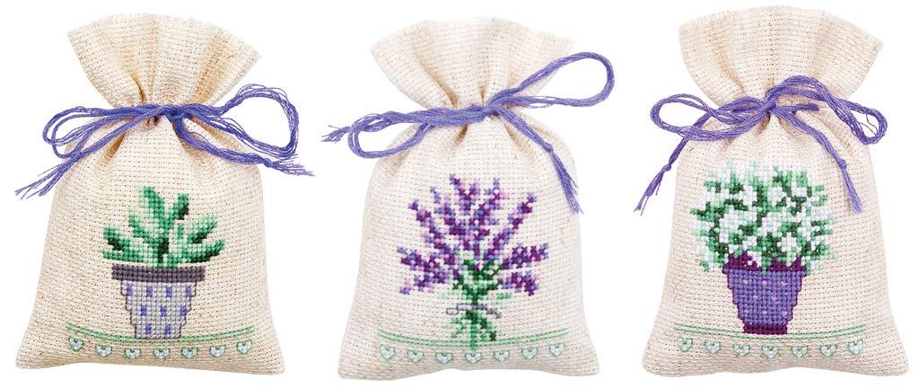 Vervaco Kräutertütchen Blumen, 3er Set, Zählmuster Zählmusterpackung, Baumwolle, Mehrfarbig 8 x 12 x 0,3 cm, 3-Einheiten