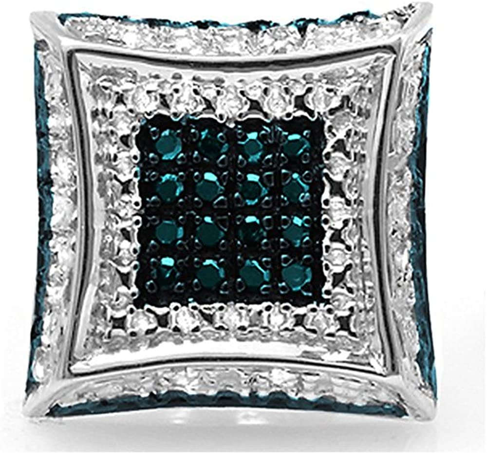 Dazzlingrock Collection 0.08 Carat (ctw) Round Blue & White Diamond Micro Pave Stud Earring (Only 1pc), Sterling Silver