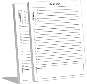 to DO List Notepads (2 Pack of 50 Pages), 100 Pages with Task Pads with Checklist, Priority & Notes Sections for Added Efficiency. A Planner for Organized People. 8.5