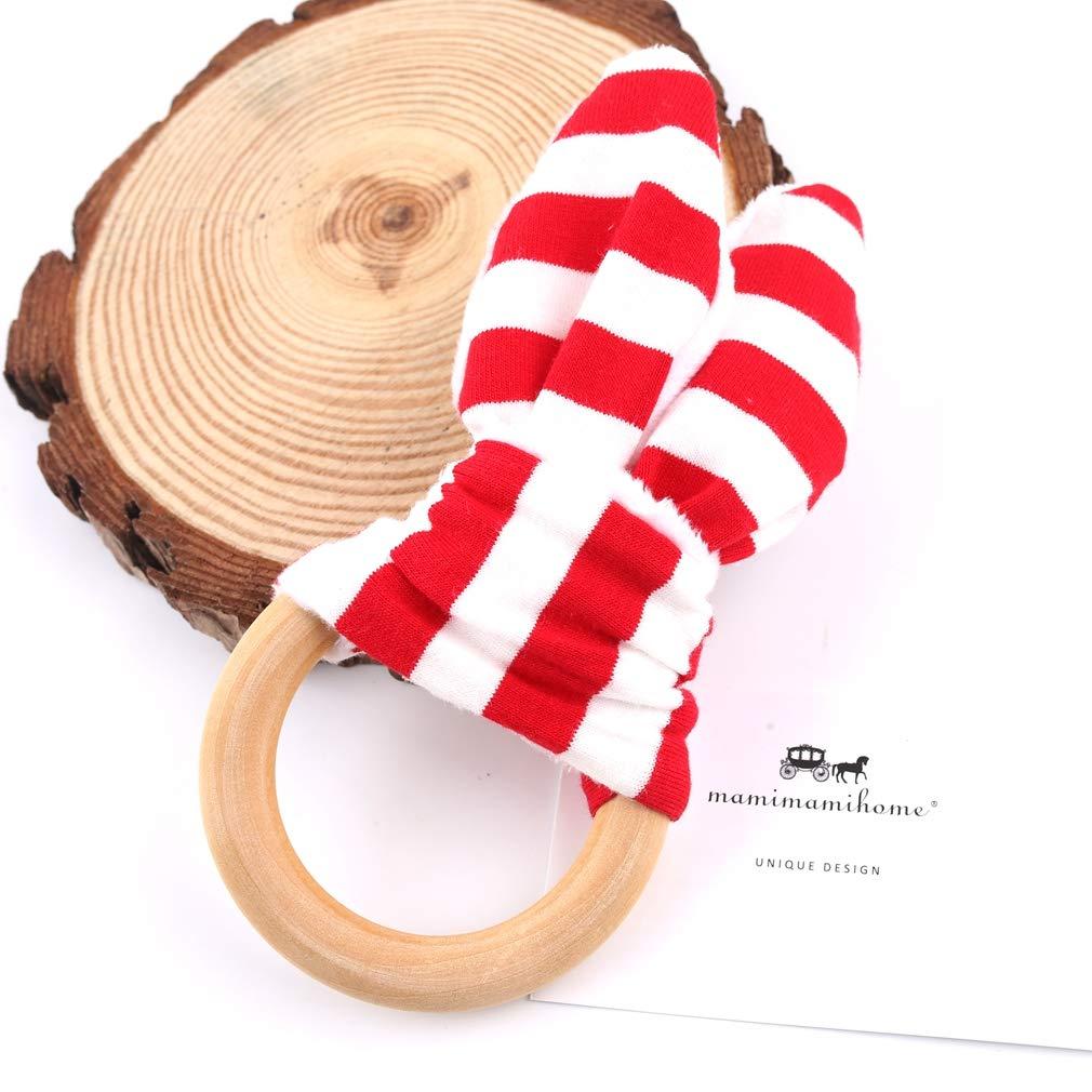 Beb/é Mordedor Juguetes del o/ído del conejito Mordedor para el beb/é//Tela y del anillo de dentici/ón de madera con el material en el interior de la arruga
