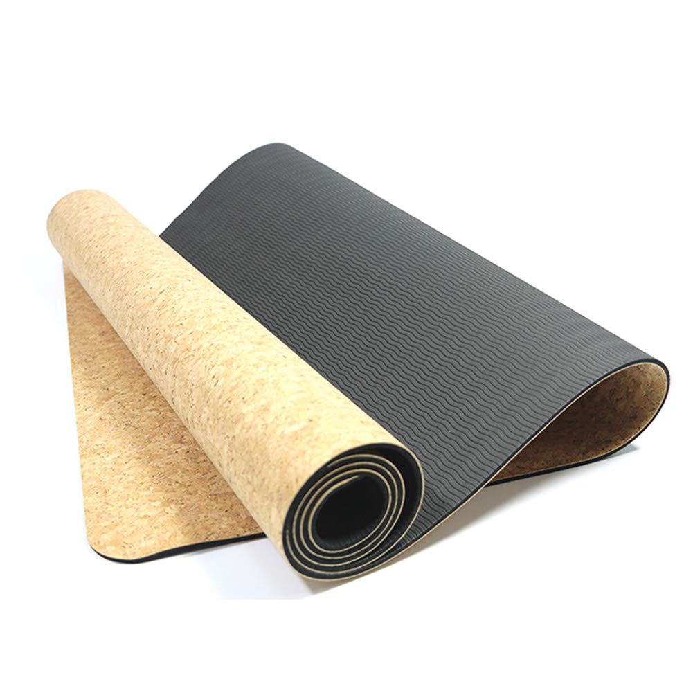 Leoattend Cork TPE Non-Slip Yoga Mat 5mm Gymnastics Pad for Women Men Fitness Training by Leoattend