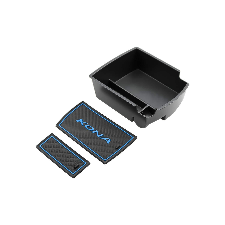 RUIYA Consola central con reposabrazos personalizada para 2018 Kona, bandeja de almacenamiento, organizador de consola, bandeja de inserción, accesorio para ...