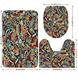 3 Piece Bathroom Mat Set,Doodle,Cinema-Items-Combined-in-an-Abstract-Style-Popcorn-Movie-Reel-The-End-Theatre-Masks-Decorative,Multicolor.jpg,Bath Mat,Bathroom Carpet Rug,Non-Slip