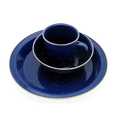 Émail Bleu - 6 pièces-set Repas Assiette + Bol + Gobelet pour Camping en extérieur
