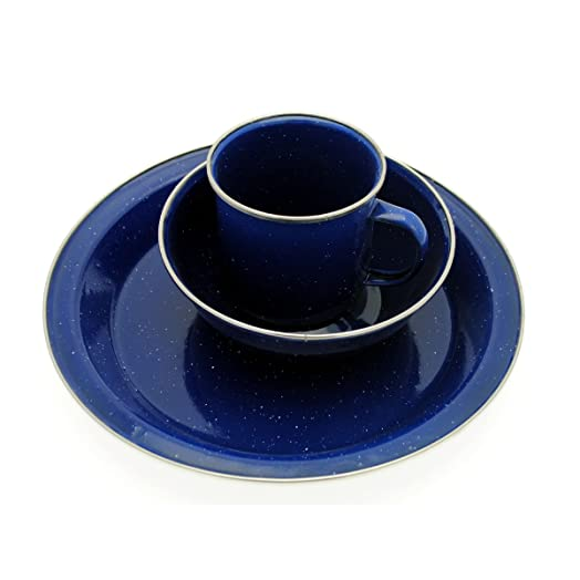 Blue Enamel 6 Pc Set Plate Bowl Cup Camping Caravan Outdoor