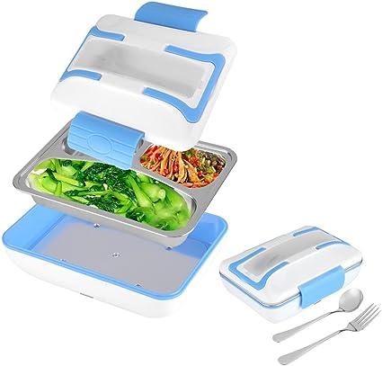 Calefacción eléctrica Lunch Box Hornillo eléctrico de coche, 12 V 40 W cajas almuerzo calefactables con revestimiento aislante de acero inoxidable