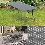 ProBache - Table pliante d'appoint effet résine tressée grise 180 cm pour camping ou réception