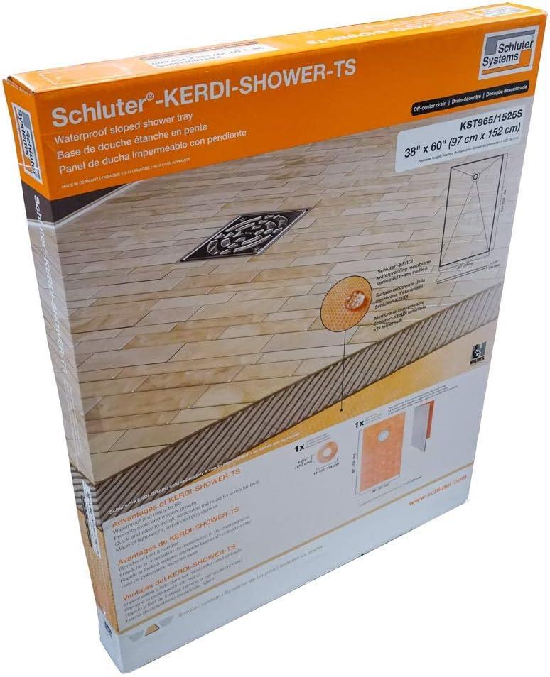 "Schluter Kerdi 38"" x 60"" Shower Tray Off-Center Drain Placement 1-1/2"" Perimeter Height"