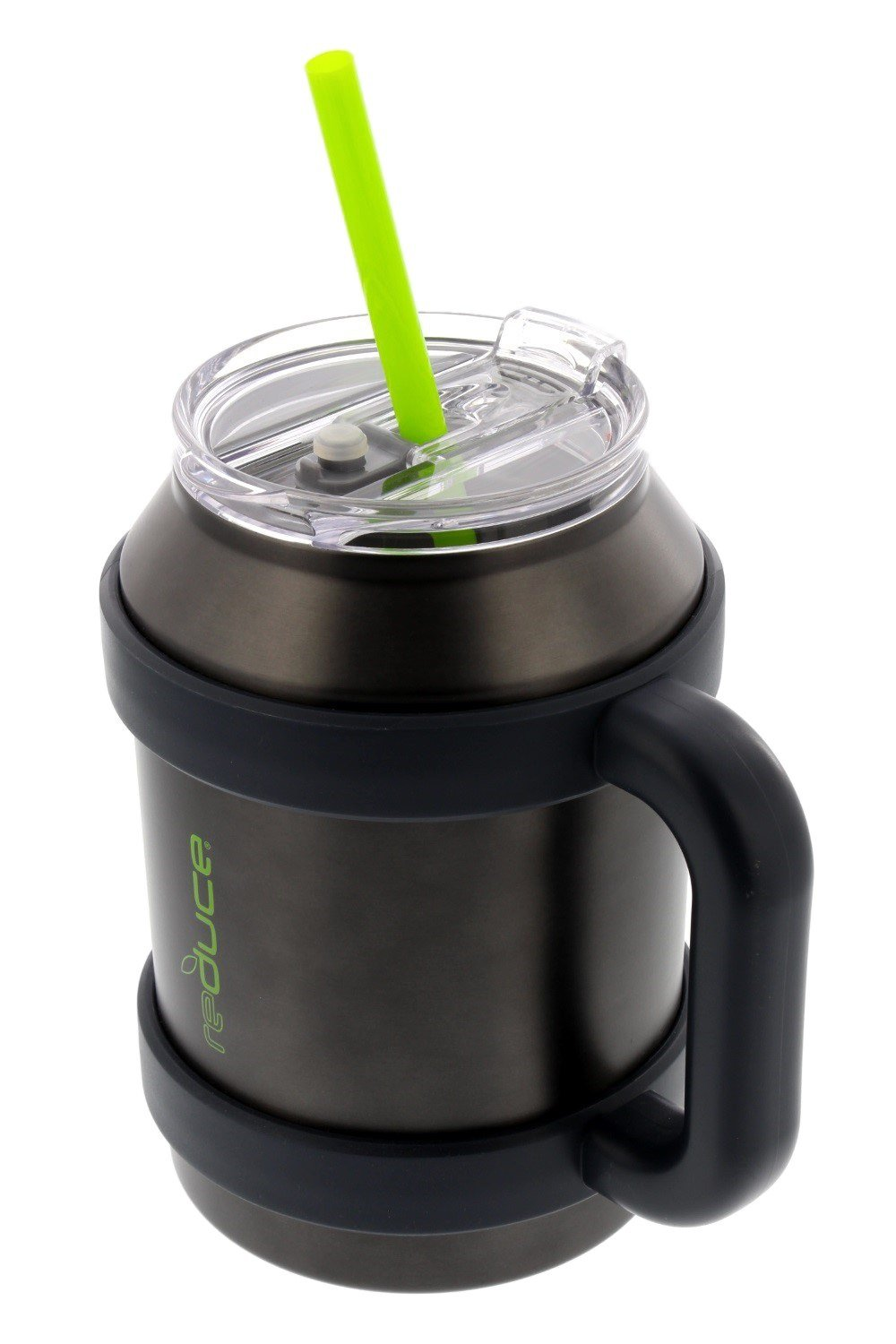 Stainless Steel Large 50oz Cold-1 Thermal Coffee & Water Mug by REDUCE - Dual Wall Vacuum Insulated Mug - Perfect for Hot & Cold Drinks - Includes Straw, Leak-Proof Lid and Handle, Gray w/Lime