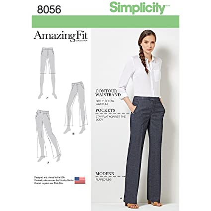 f95621b65232f Simplicity Sewing Pattern 8056BB Amazing Fit Miss and Plus Size Flared  Pants or Shorts