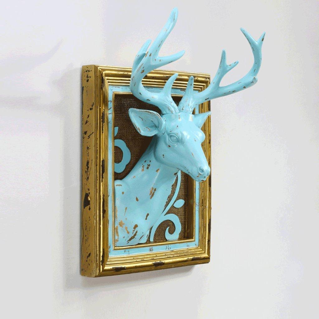 創造的な動物の装飾鹿の頭の壁のマウントされた宝石の壁掛けの居間リビングルームのコーヒーホール入り口の壁の装飾レストランイメージの忠実度、シミュレーションの高い程度、ホーム改善エッセンシャル Xuan - worth having (色 : 青) B07DK317PH 13773 青 青