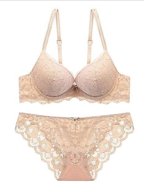 b17f32759e6c Image Unavailable. Image not available for. Color: Jaycargogo Women's  Comfort Underwear Sexy Lace Wire-Free Bra and Panty Set ...