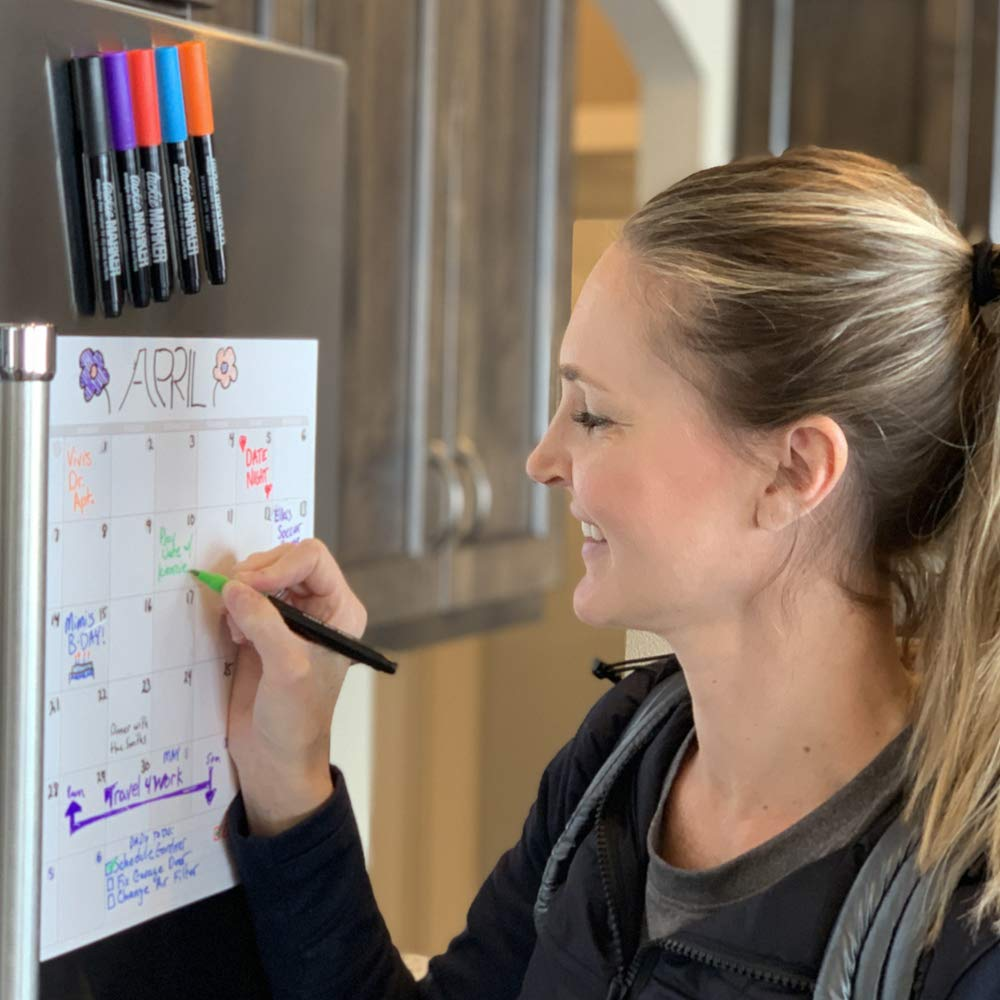 mcSquares Stickies Dry Erase Calendar & To Do List - Sticks to Stainless Steel (Any Smooth Surface) - Monthly Whiteboard for Refrigerator, Mirror, Desk, Door, Window - Smudge-Free Markers Included by mc squares (Image #3)