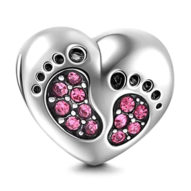 Birthstone Crystal Charms Solid 925 Sterling Silver Baby Footprint Heart Bead Charm xXhsEfo