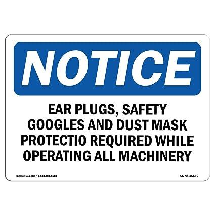 OSHA Aviso - Aviso tapones para los oídos gafas de seguridad ...
