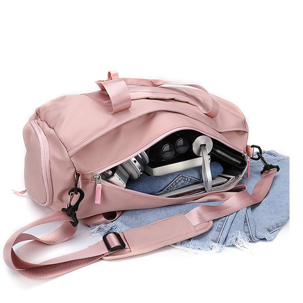 Gym bag for women, workout duffel bag shoe compartment, sports gym bags with wet pocket and shoe compartment, Pink by HYC00