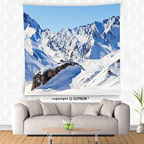 VROSELV custom tapestry Lake House Decor Tapestry Snowy Winter Scenery in Alphs under Clear Sky Tranquil in Wilderness Print Wall Hanging for Bedroom Living Room DormBlue White Wilderness Lodge Christmas Music