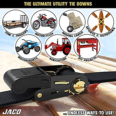JACO Ratchet Tie Down Straps (4 Pack) - 1 in x 15 ft | AAR Certified Break Strength (1,823 lbs) | Cargo Tie Down Set with (4) Utility Ratchet Straps, (4) Bundling Straps, and Accessories (Black): Automotive