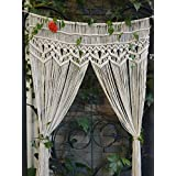 "RISEON Macrame Wall Hanging Tapestry- Macrame Door Hanging,Room divider,macrame Curtains,Window Curtain, door curtains, wedding Backdrop BOHO wall decor, 33.5""W x 75""L (without bar)"