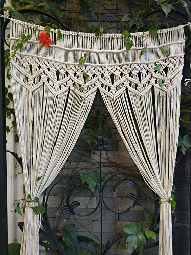 "RISEON Macrame Wall Hanging Tapestry- Macrame Door Hanging,Room divider,macrame Curtains,Window Curtain, door curtains, wedding Backdrop Arch BOHO wall decor, 33.5""W x 70""L (without bar)"