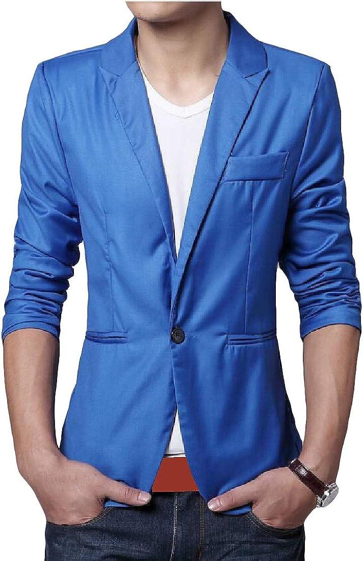 Etecredpow Men Solid Work One Button Slim Fit Coat Blazer Jackets