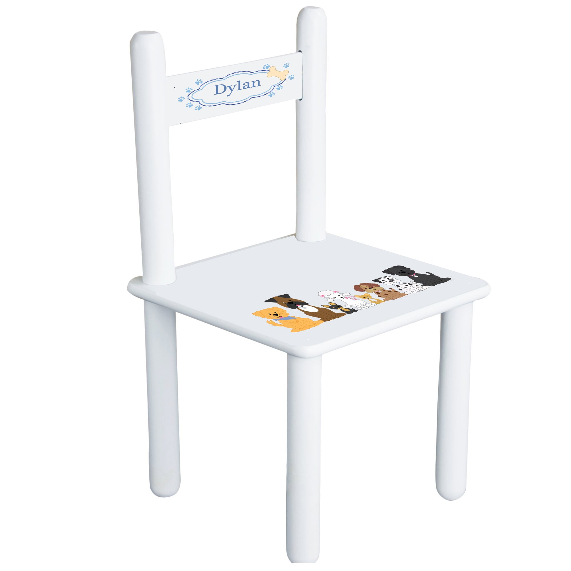 Personalized Blue Dogs Child's Chair - white