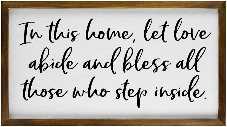 EricauBird Wood Sign, in This Home Let Love Abide Framed Wood Sign, Full Quote Wall Hanging, Custom Home Decor, Farmhouse Style Typography Art Decorative Home Wall Art 12x22