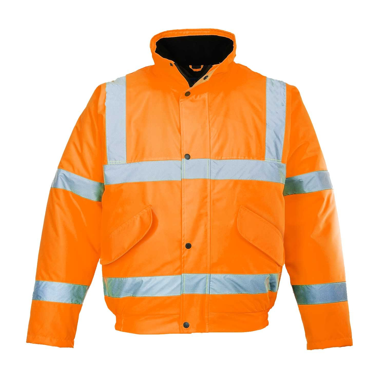 Mens Hi Visibility Orange Work Bomber Jacket Coat Size S to 5XL Coats by SITE KING - HI VIZ VIS RAILWAY ROAD SAFETY
