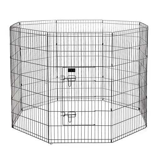 "Ollieroo Dog Playpen Exercise Pen Cat Fence Pet Outdoor Indoor Cage 8 Panel Black E-coat Small (24"" W x 42"" H)"