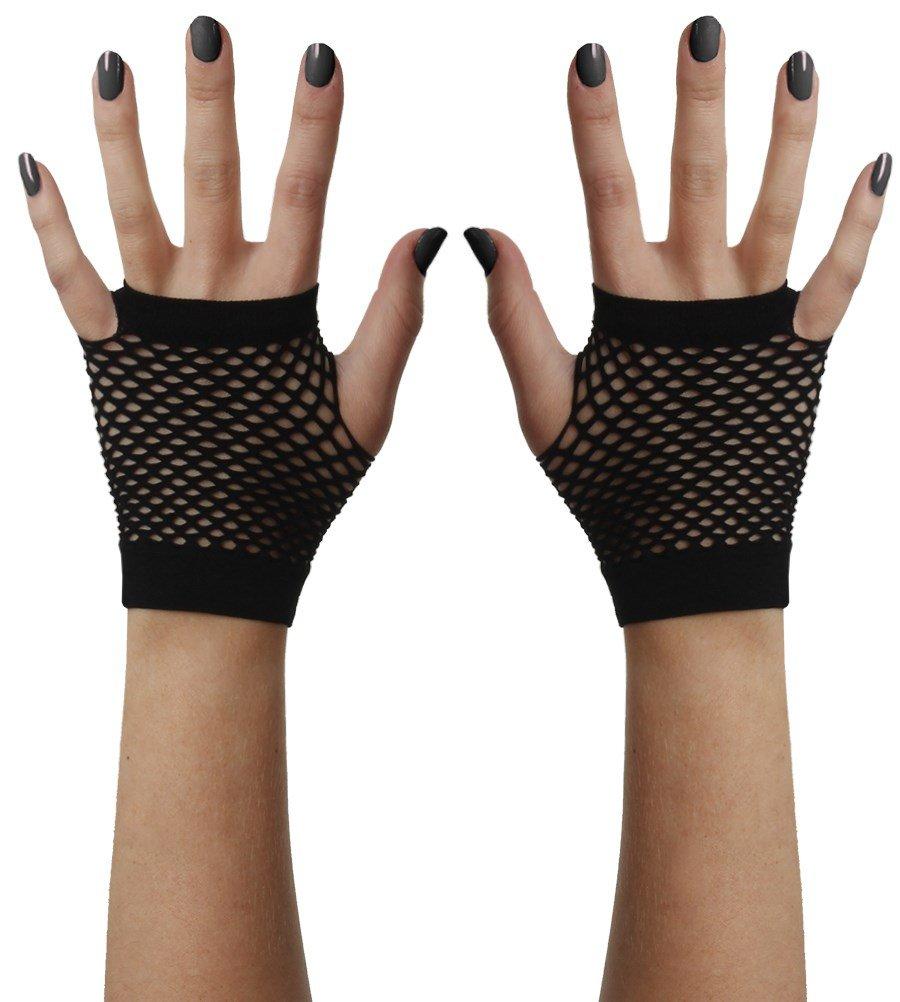 Fad Treasures Short Mesh Fingerless Gloves Black