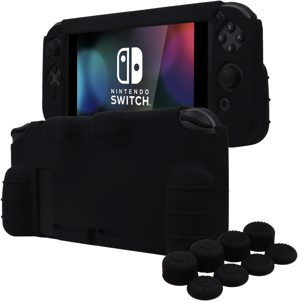 YoRHa EMPUÑADURA silicona caso piel Fundas protectores cubierta para Nintendo Switch x 1 (negro) Con Joy-Con los puños pulgar thumb gripsx 8: Amazon.es: Videojuegos