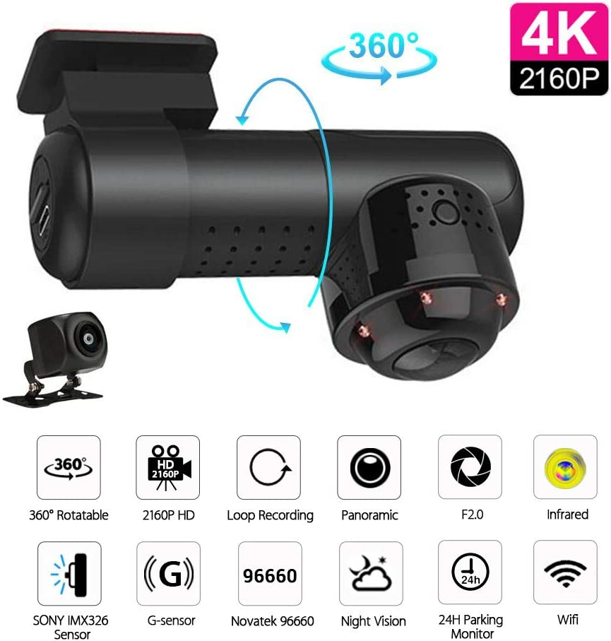UNITOPSCI Dash Cam 1080P Dual Dashcam Camera Full HD Car DVR Recorder WiFi 360° Wide Vision Front and Rear Dashboard Cam with Sony IMX326 Sensor/IR Night Vision/G-sensors/Loop Recording/English Voice